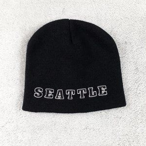 SEATTLE Spellout Black Knit Beanie OS